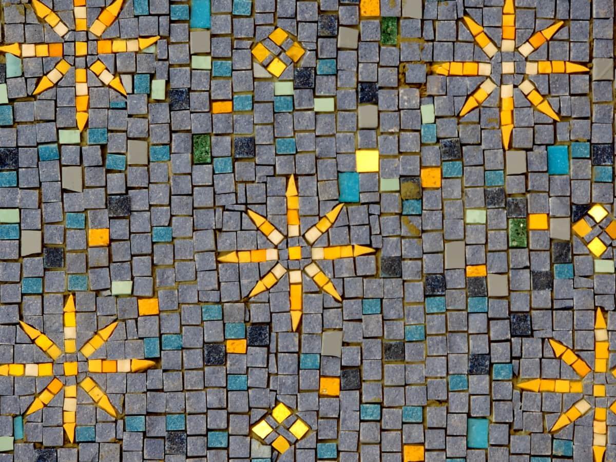håndlaget, mønster, mosaikk, tekstur, fliser, abstrakt, dekorasjon, geometriske