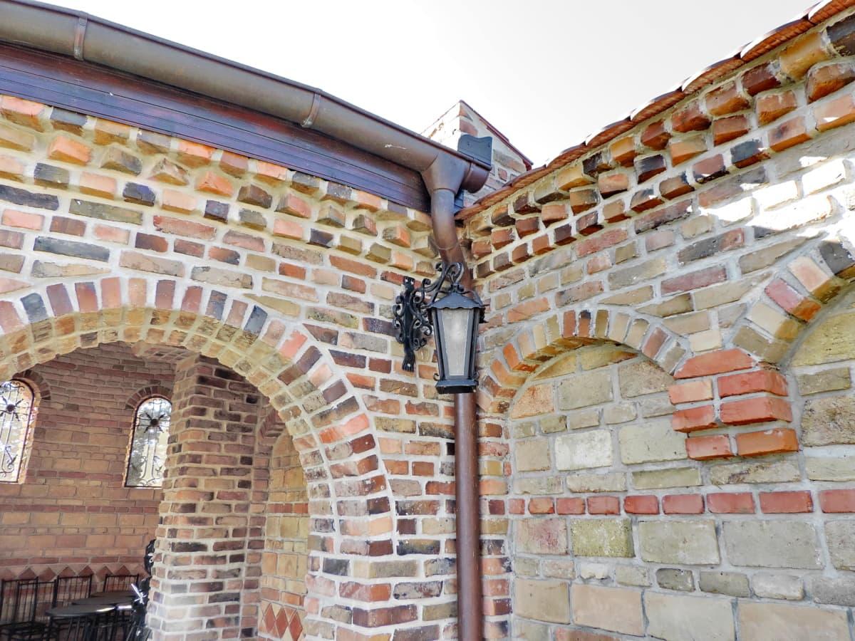 estilo arquitetônico, Bizantina, tijolo, parede, velho, arquitetura, edifício, cidade
