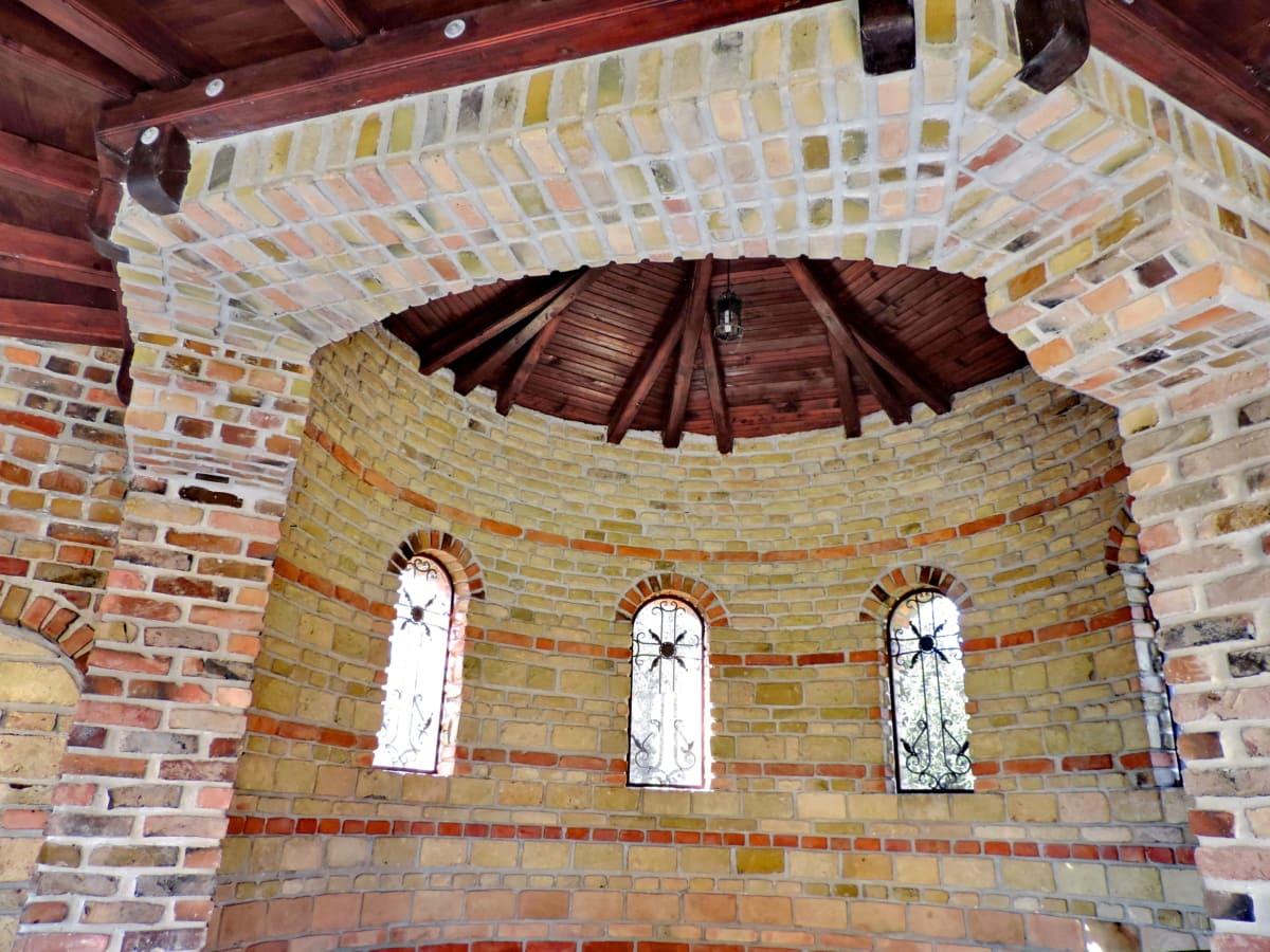 Bysantinsk, dekorasjon, håndlaget, interiør, arkitektur, bygge, gamle, murstein