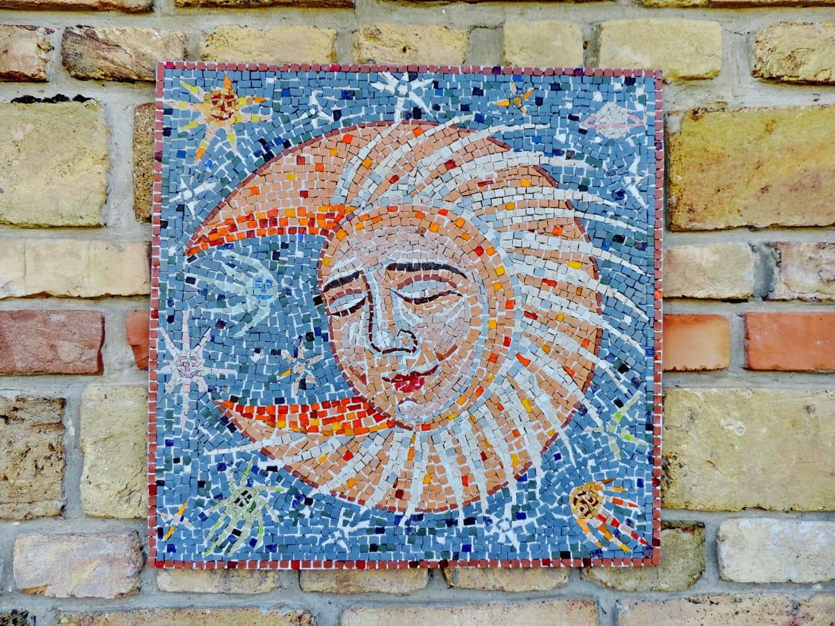 umjetnički, mjesec, mozaik, cigla, zid, stari, uzorak, tekstura