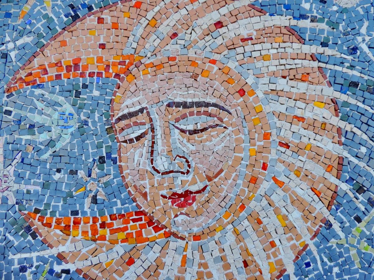 umjetnost, mjesec, mozaik, san, uređaj, uzorak, umjetnički, dizajn