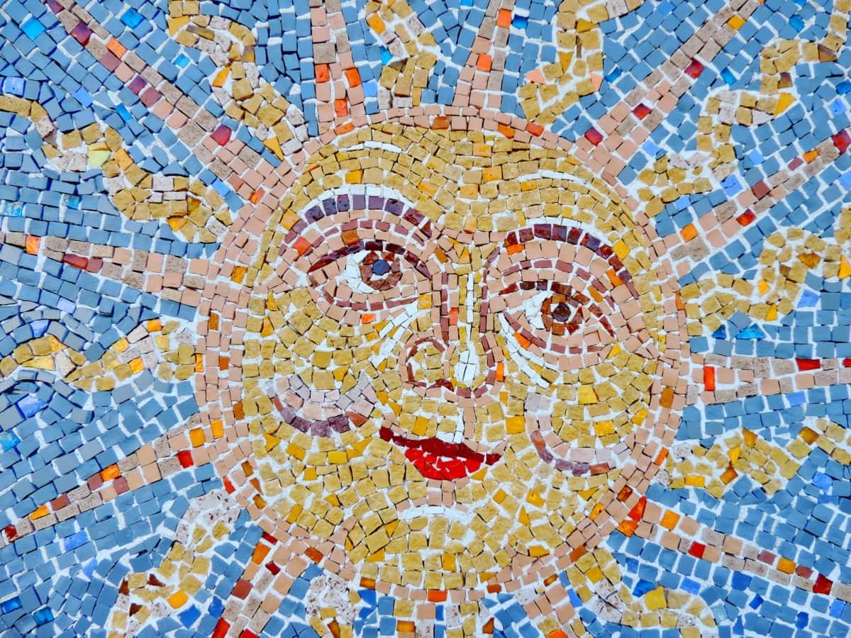 kunst, kreativitet, ansigt, håndlavede, mosaik, solen, solskin, abstrakt