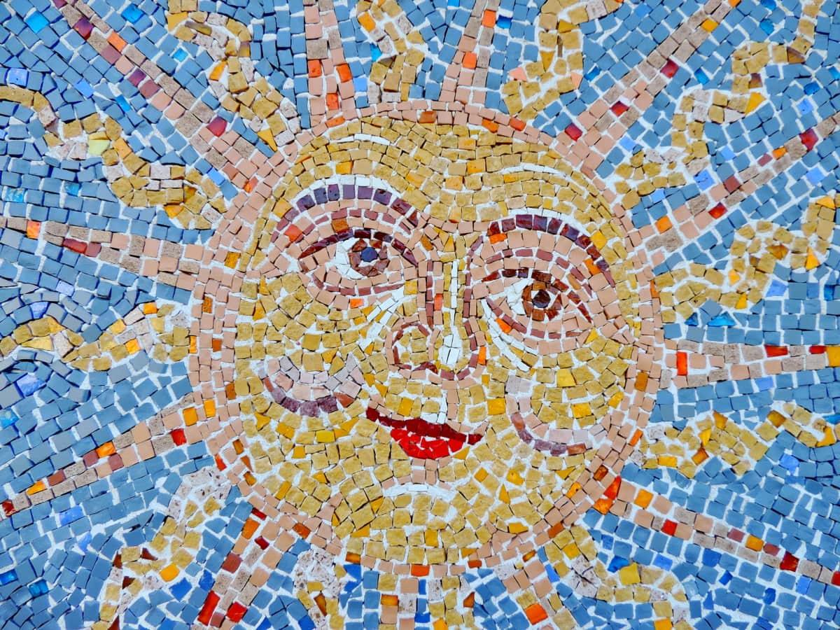 tvár, Mozaika, hviezda, slnko, slnečných lúčov, abstraktné, umenie, vzor