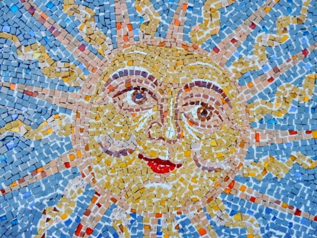 face, mosaic, star, sun, sunrays, abstract, art, pattern