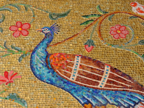 art, birds, colorful, flowers, mosaic, pattern, old, design