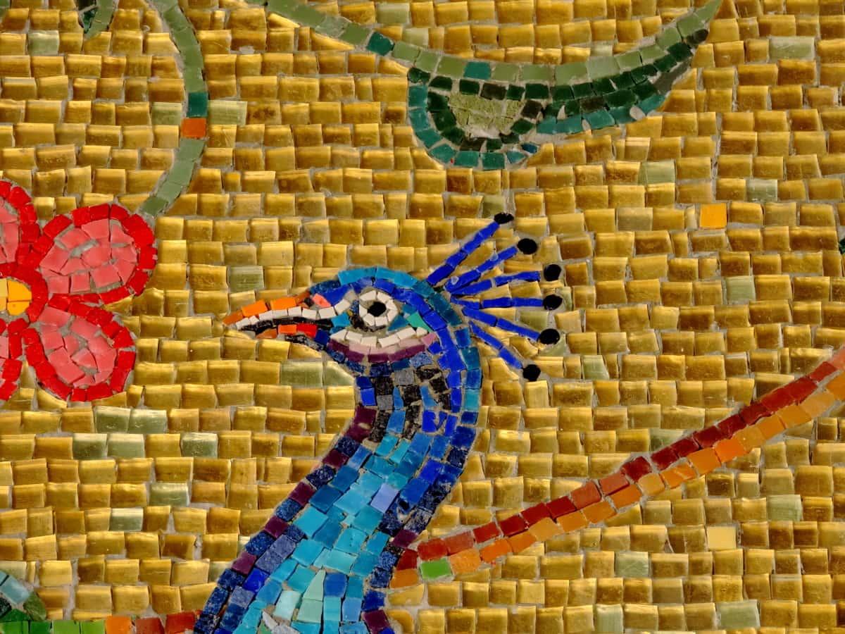 πουλί, δημιουργικότητα, Χειροποίητο, κεφάλι, μωσαϊκό, παγώνι, τέχνη, Σχεδιασμός