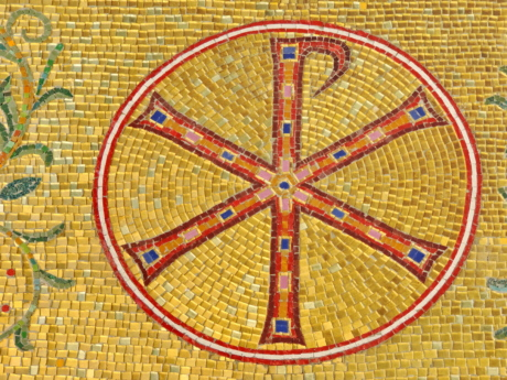 sign, symbol, mosaic, round, pattern, art, old, design