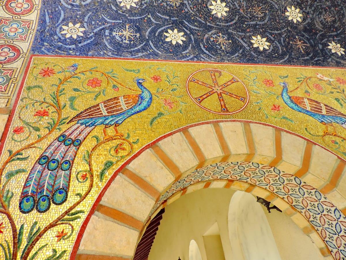 oblouk, architektonický styl, krásné květiny, kultura, ručně vyráběné, Páv, dekorace, umění