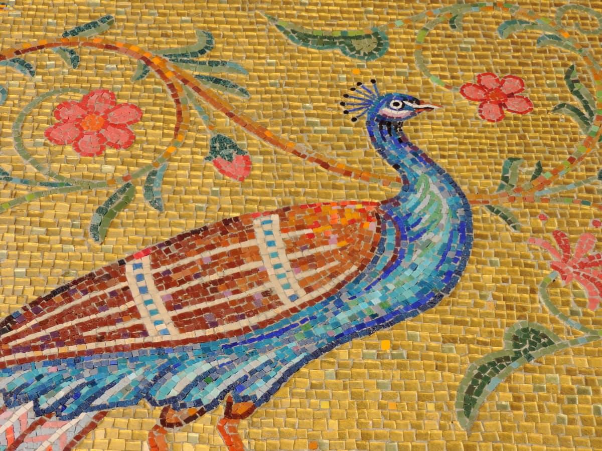 beautiful flowers, bird, colorful, creativity, fine arts, peacock, visuals, mosaic