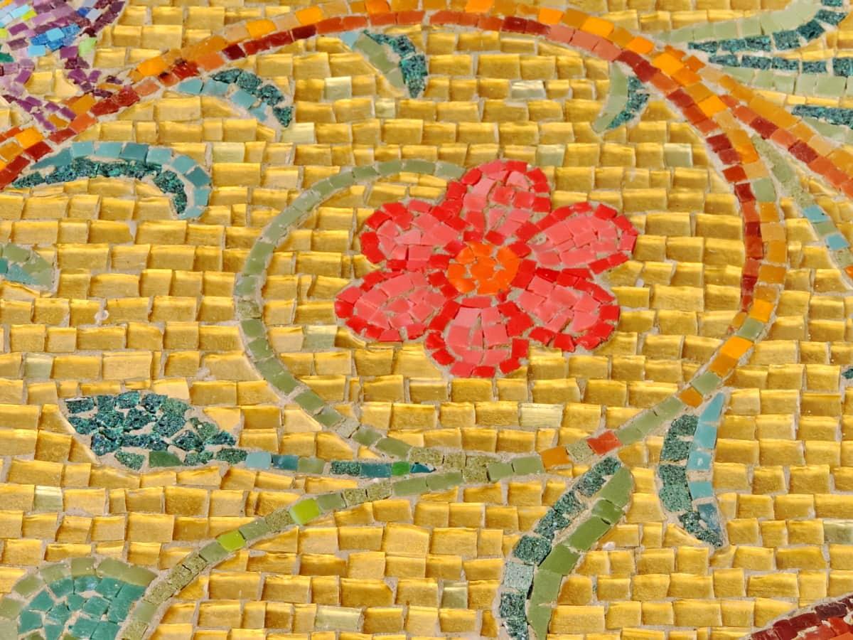 arabeszk, színes, virág, kézzel készített, keleti, mozaik, minta, csempe
