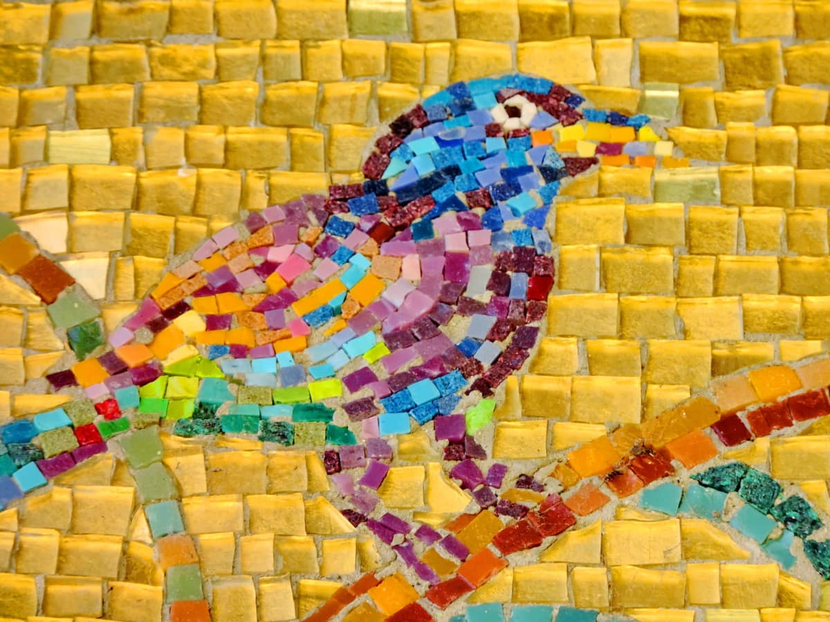 sztuka, ptak, kolorowe, Szczegóły, ręcznie robione, mozaika, ściana, tekstury