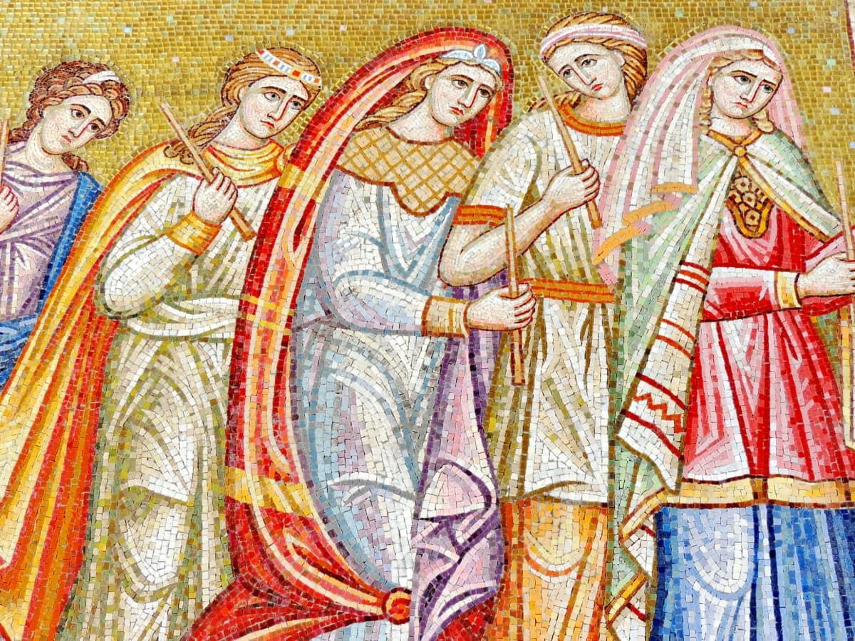 fine arts, medieval, mosaic, saint, spirituality, women, art, artistic