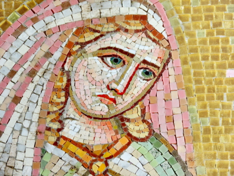 face, medieval, portrait, young woman, wall, mosaic, art, old