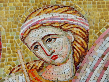 history, medieval, portrait, woman, mosaic, art, wall, old