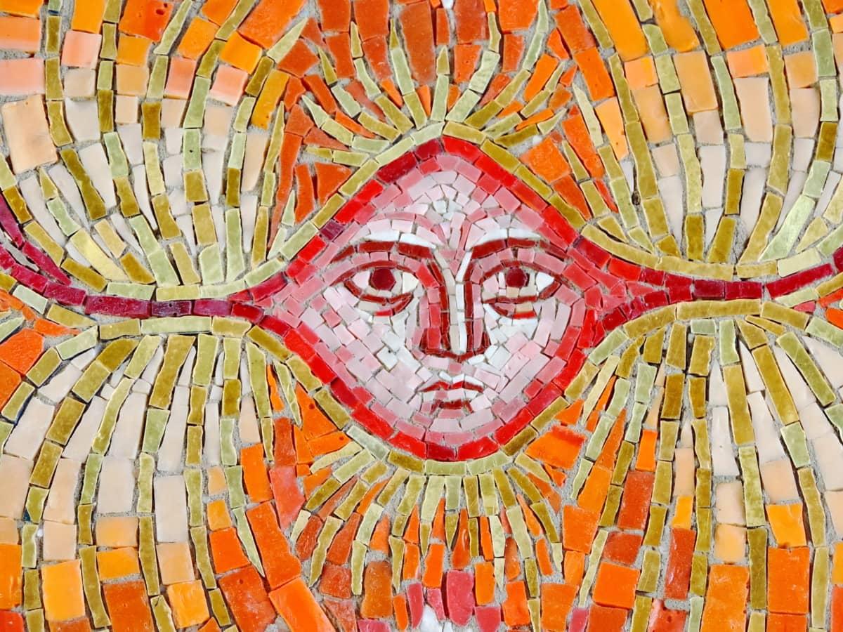 oko, lice, nos, umjetnost, pločica, mozaik, uzorak, umjetnički