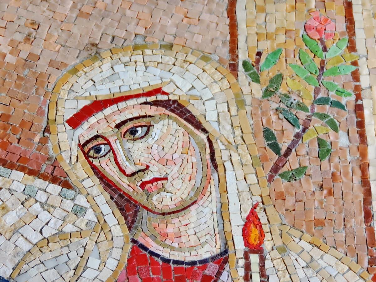 candlelight, face, flower bud, mosaic, prayer, veil, woman, ancient