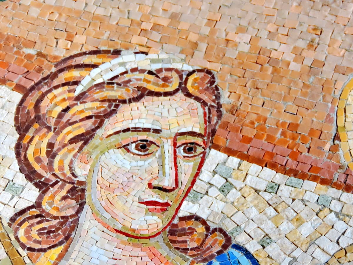 face, women, mosaic, art, wall, old, culture, religion