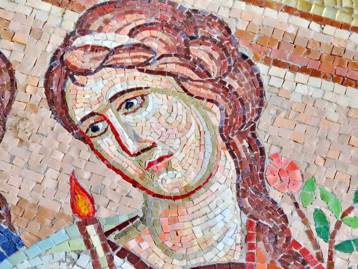 candlelight, face, flower, portrait, prayer, pretty girl, device, mosaic