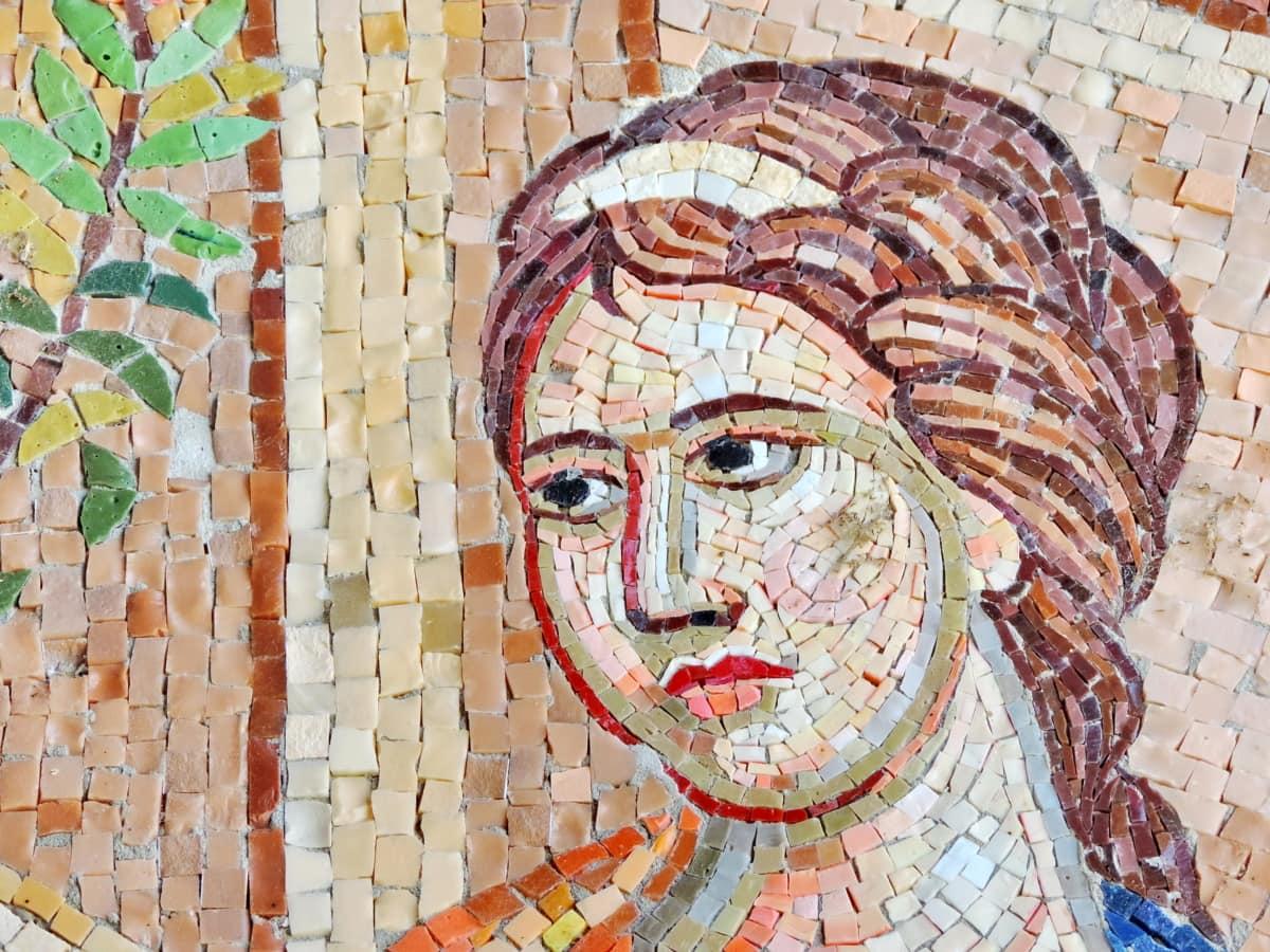 kasvot, kampauksen, muotokuva, iho, nainen, taide, seinä, mosaiikki