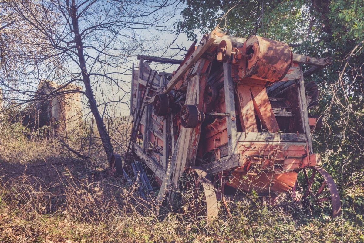 покинуті, Старий, руїни, ферми, пристрій, машина, комбайн, краєвид