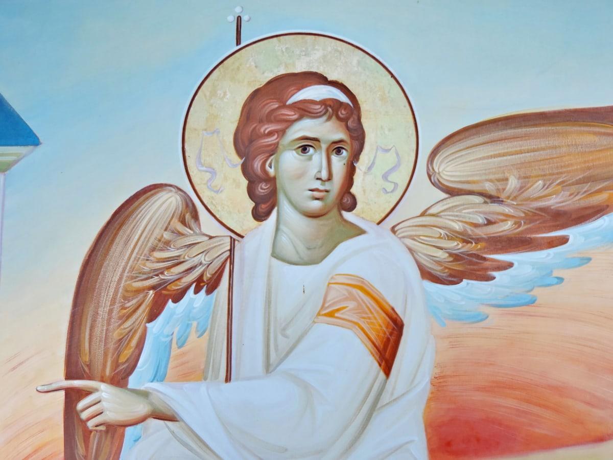 angel, christianity, icon, orthodox, Serbia, white, art, illustration