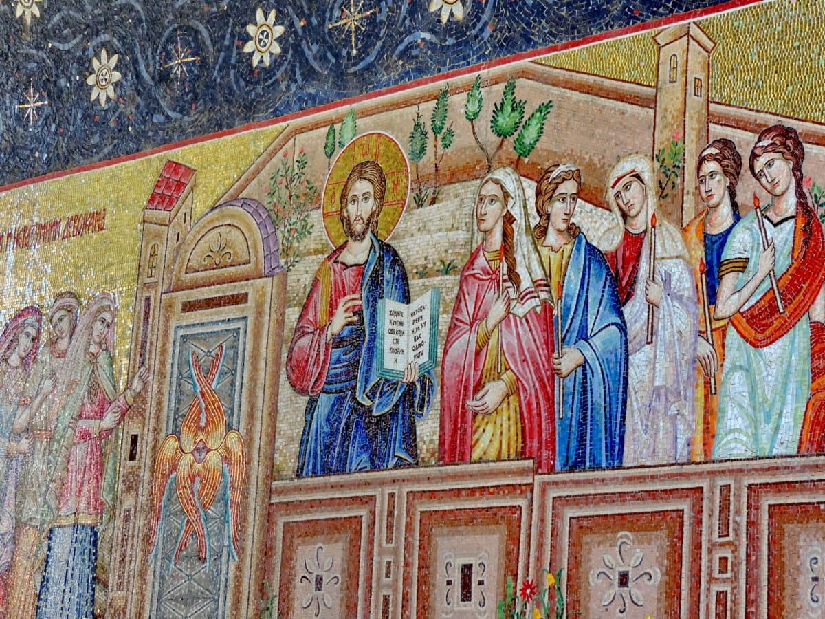 oltar, Krist, kršćanski, ručni rad, mozaik, pravoslavlje, umjetnost, slika