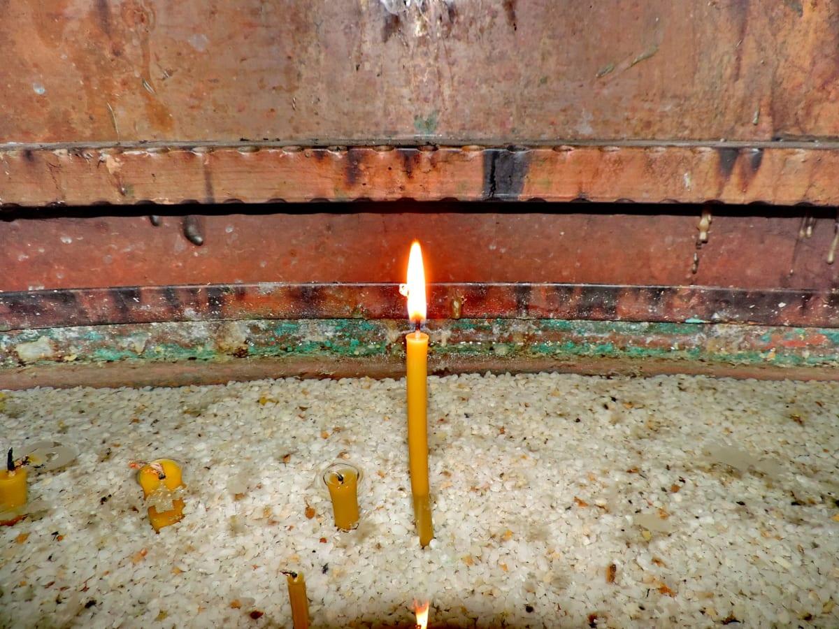 свещи, мед, метал, религия, пламък, огън, свещ, светлина