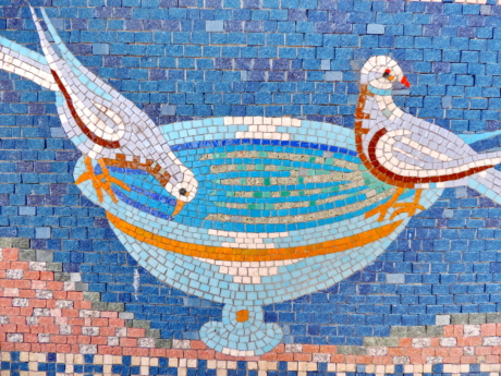birds, dove, fountain, handmade, medieval, mosaic, design, art