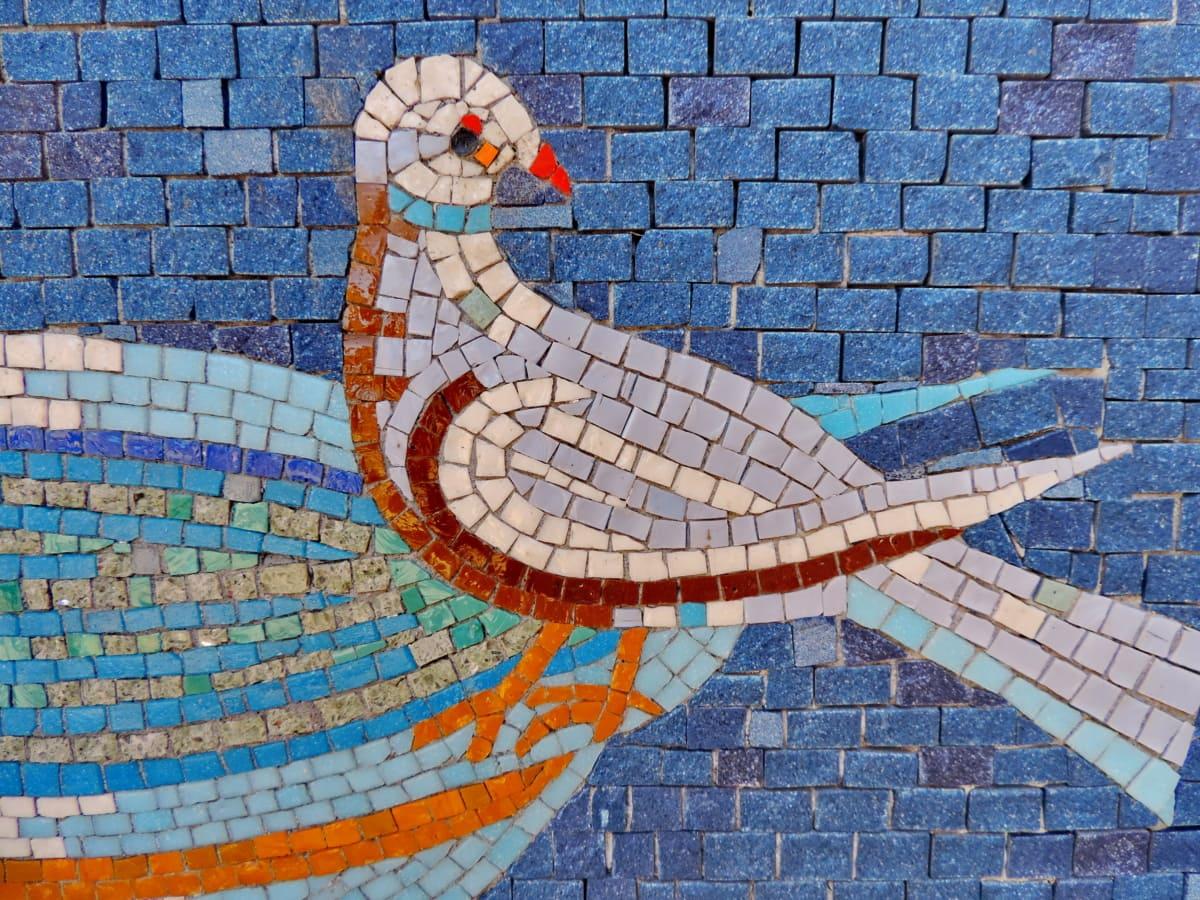 kunst, kyyhkynen, middelalderlige, symbol, væg, mosaik, tekstur, design