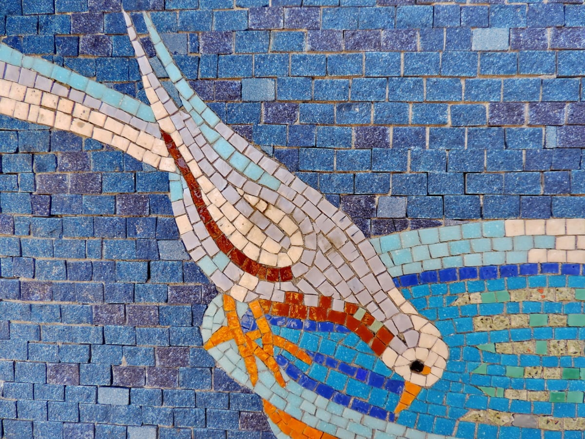 bird, fountain, wall, mosaic, brick, design, architecture, pattern