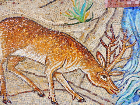 animal, deer, mosaic, art, old, wall, ancient, color