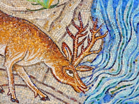 animal, deer, art, mosaic, color, painting, texture, wall