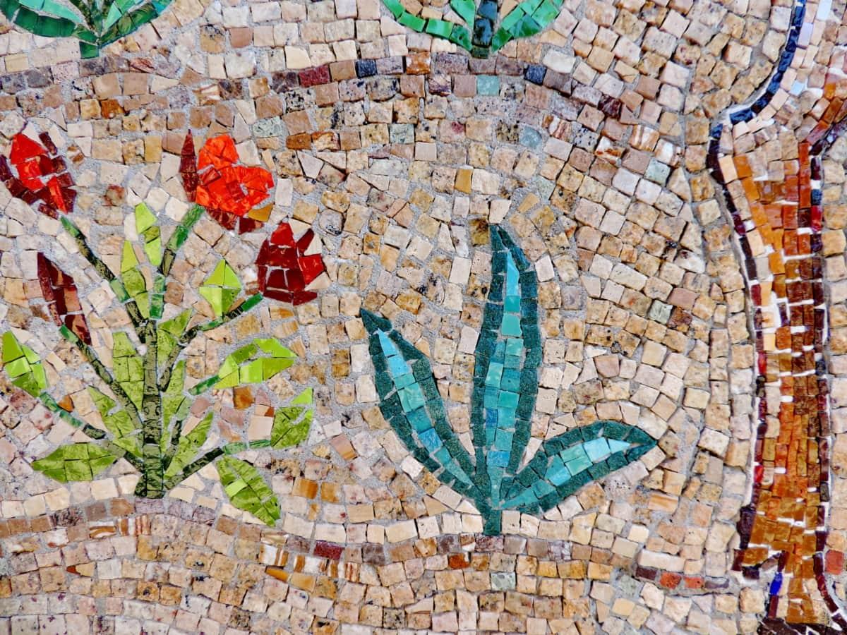bloem, mozaïek, muur, patroon, kunst, het platform, ontwerp, oude