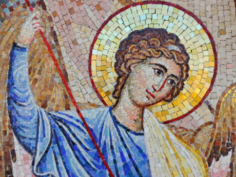 saint, mosaic, religion, art, painting, wall, old, mural