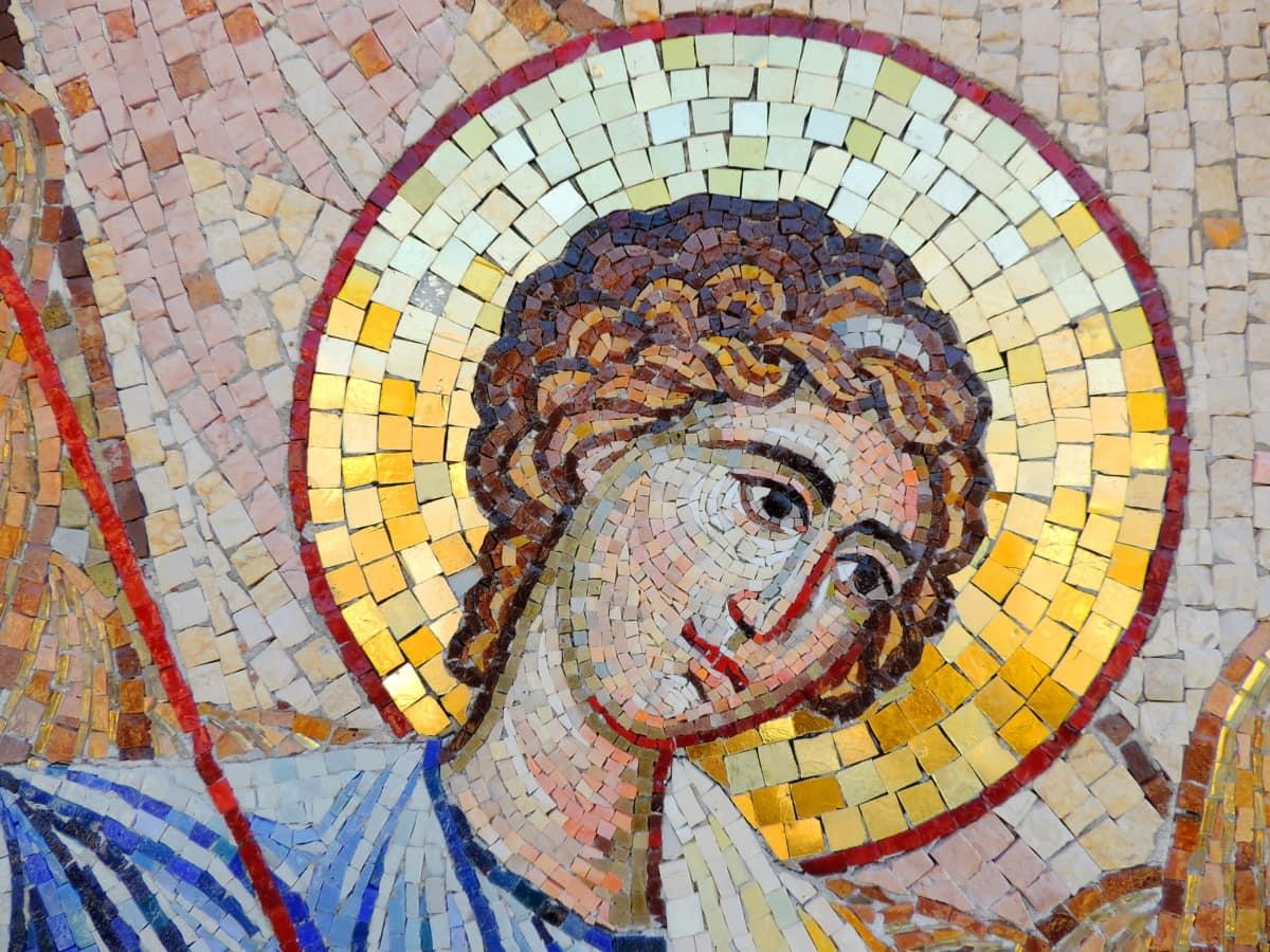 icon, saint, mosaic, art, wall, old, religion, symbol