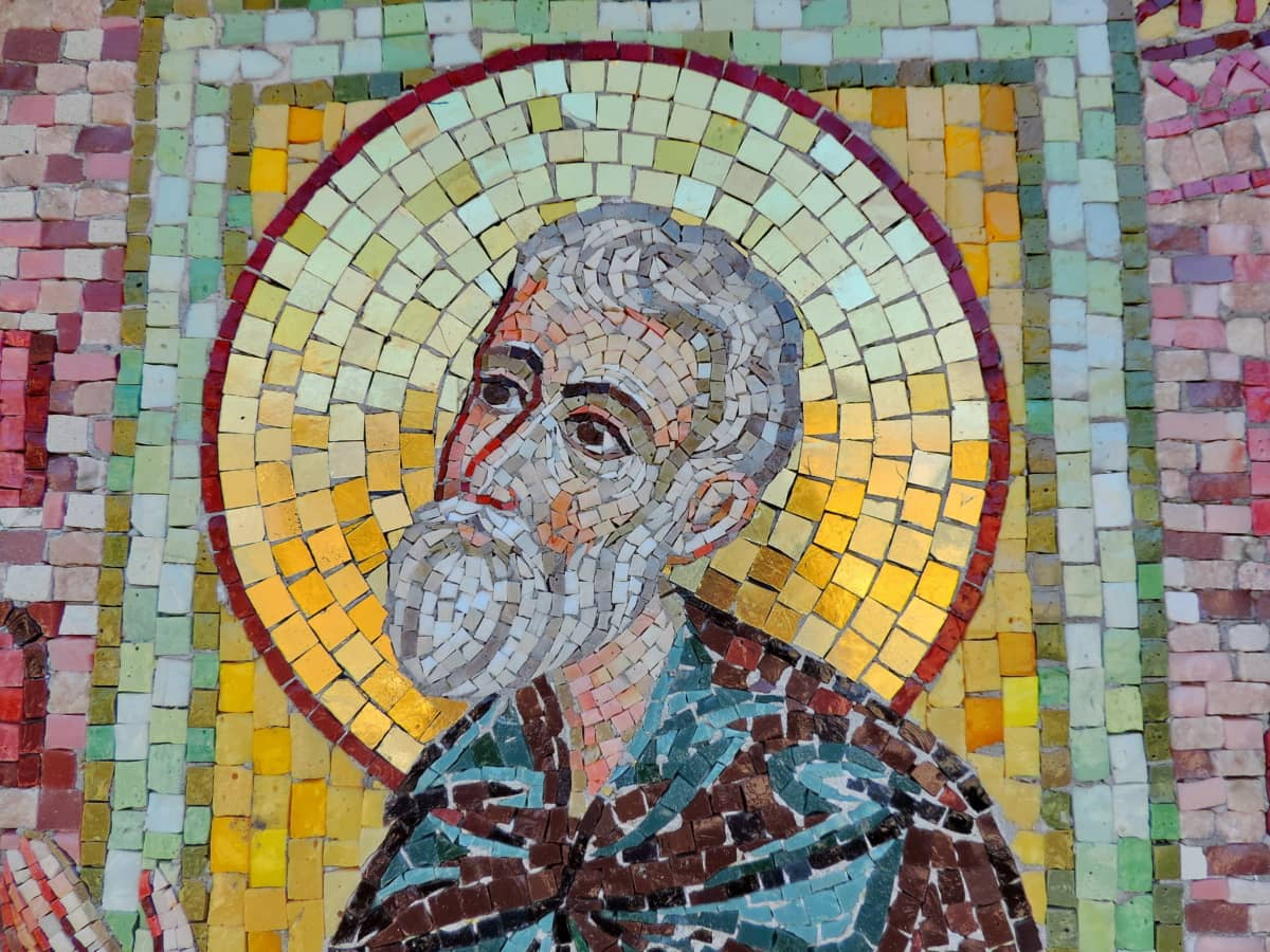 gold, mosaic, saint, wall, art, jigsaw puzzle, old, illustration