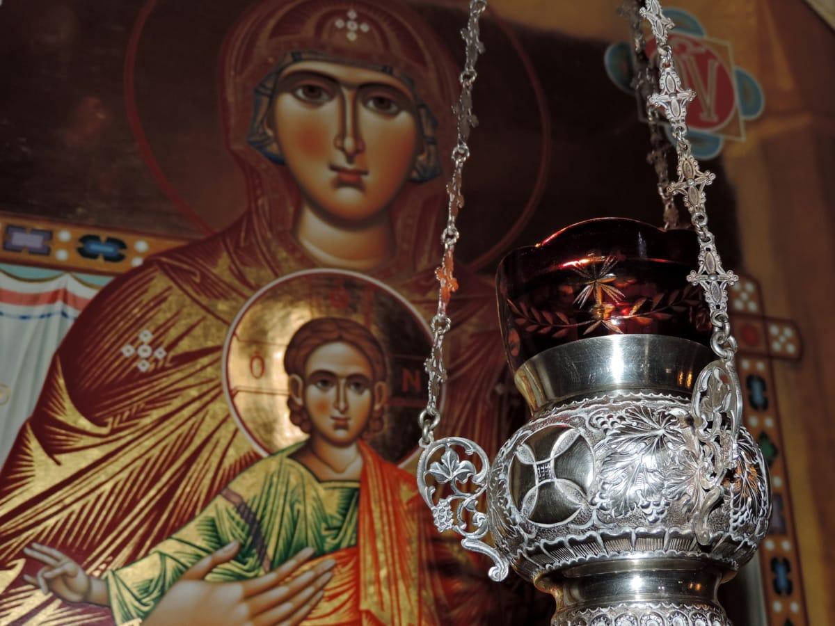 Krist, ikona, metal, majka, objekat, religija, umjetnost, duhovnost