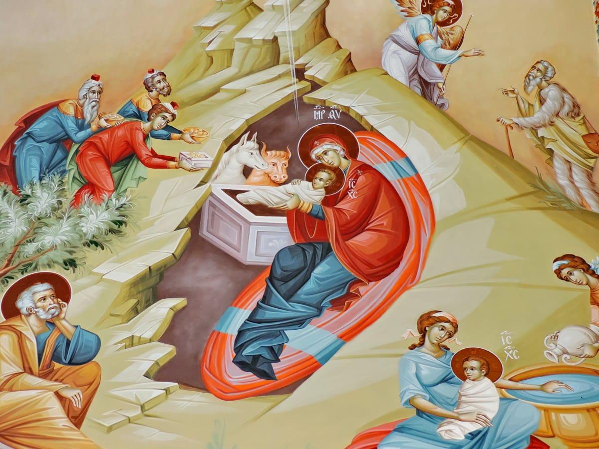 anđeo, Krist, kršćanstvo, ikona, religija, ilustracija, ljudi, dijete