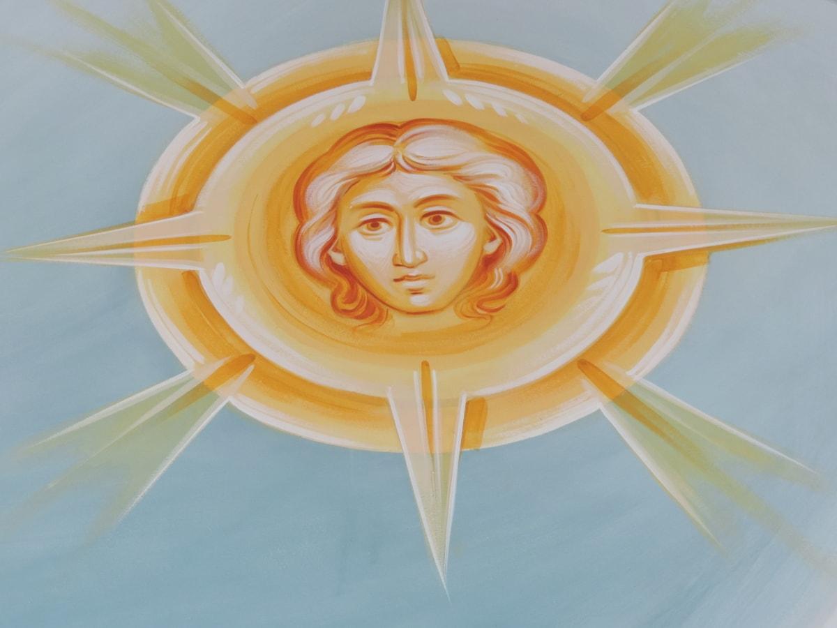 visage, Portrait, religieux, rayons de soleil, illustration, art, décoration