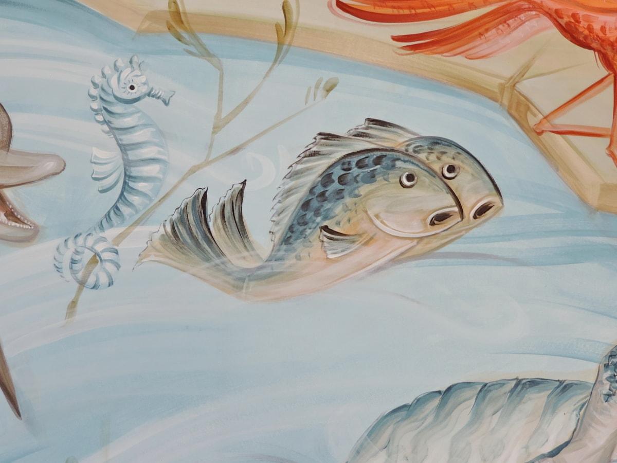 delfin, pesti, graffiti, căluţ de mare, schita, peşte, mare, animale