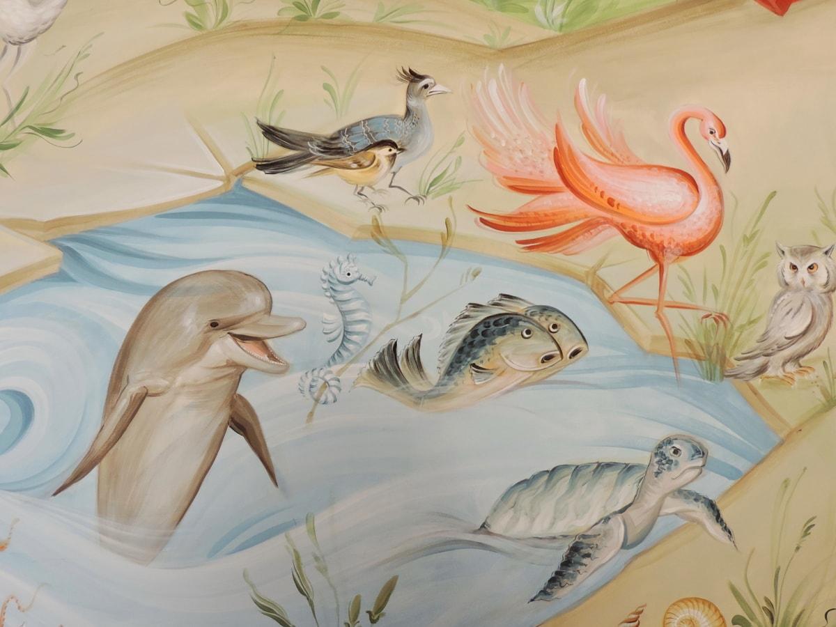 дизайн, делфините, изящни изкуства, Фламинго, морска костенурка, илюстрация, изкуство, живопис