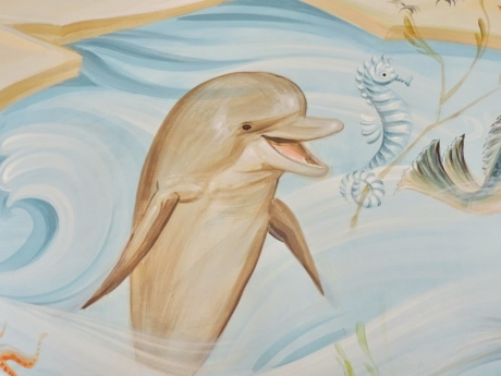 creativity, dolphin, fine arts, illustration, mural, seahorse, art, nature