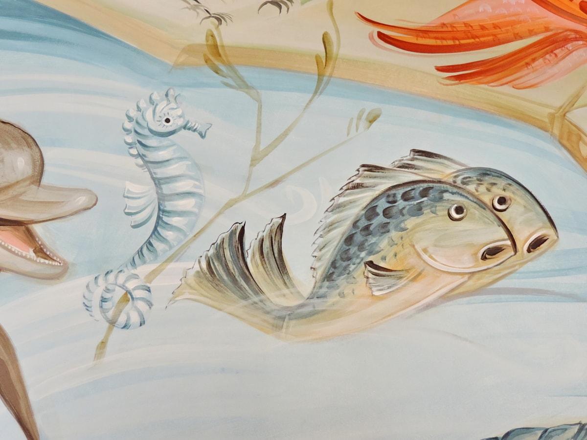 изкуство, риби, стенопис, Морско конче, риба, море, дизайн, цвят