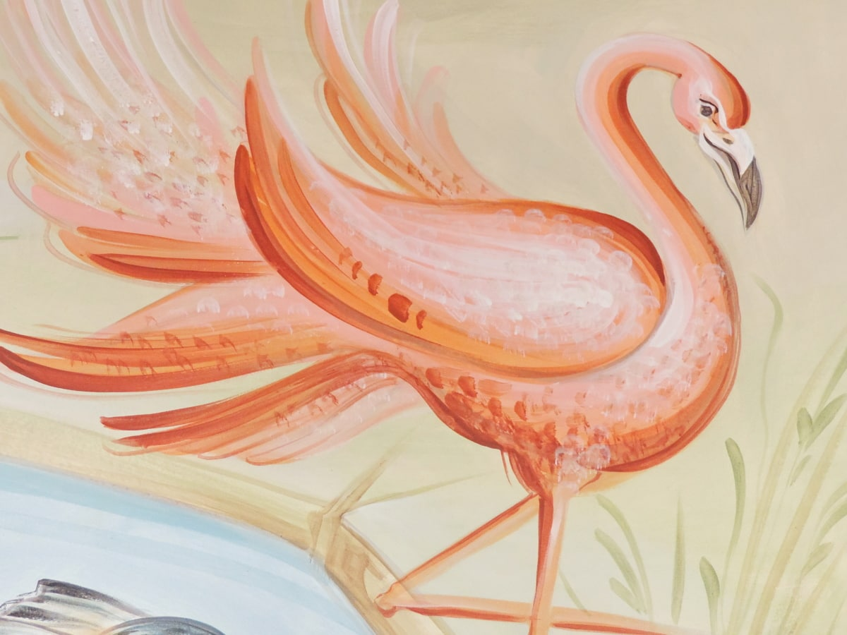 bird, elegance, fine arts, flamingo, design, illustration, art, graphic