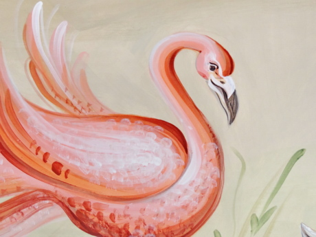 bird, fine arts, flamingo, mural, pink, illustration, art, decoration