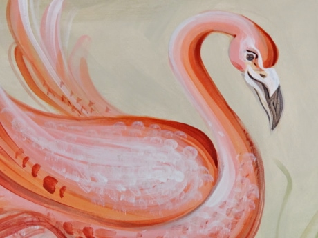 elegance, fine arts, flamingo, painting, animals, art, artistic, beautiful