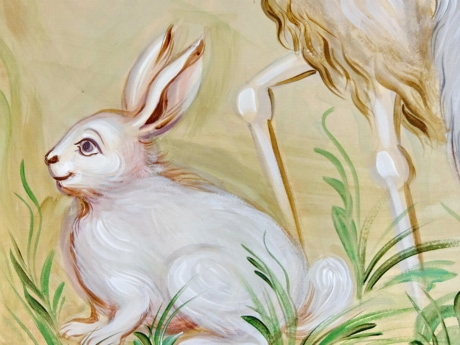 rabbit, art, white, illustration, painting, animal, beautiful, color