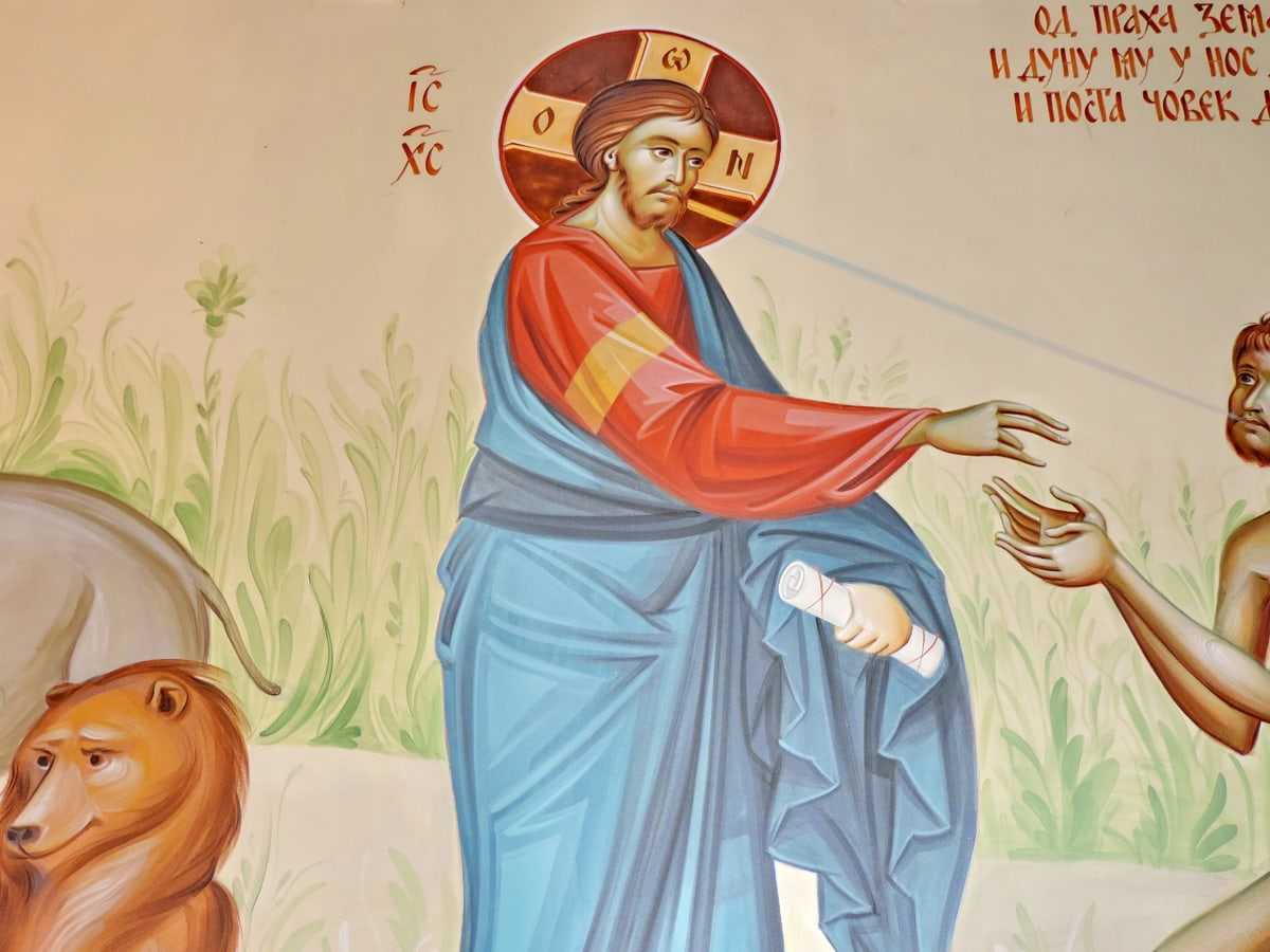Христос, Небето, илюстрация, хора, мъж, религия, изкуство, износване