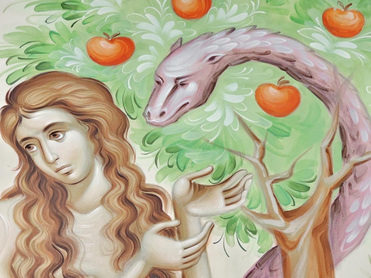 apple, art, bible, mural, religion, snake, tree, woman