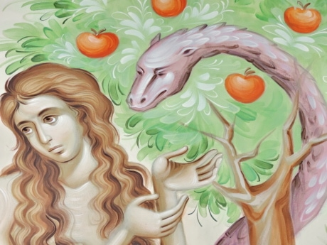 apple, art, bible, mural, religion, snake, tree, woman